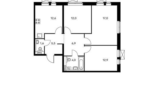 3-комн квартира, 72.5 м<sup>2</sup>, 14 этаж_1