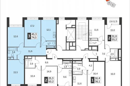 3-комнатная квартира, 74.5 м<sup>2</sup>, 6 этаж