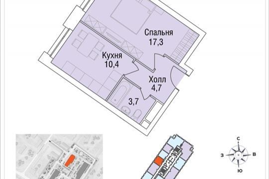 1-комнатная квартира, 36 м<sup>2</sup>, 35 этаж