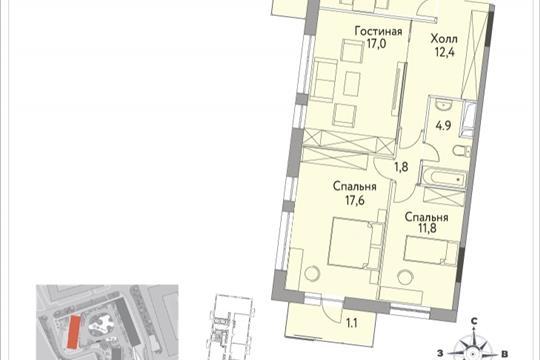 3-комнатная квартира, 83.7 м<sup>2</sup>, 19 этаж