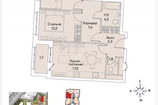 2-комнатная квартира, 61.5 м<sup>2</sup>, 34 этаж