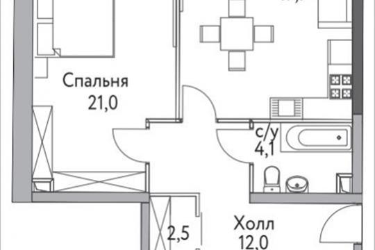 1-комнатная квартира, 50 м<sup>2</sup>, 1 этаж