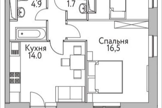 2-комнатная квартира, 57.7 м<sup>2</sup>, 3 этаж