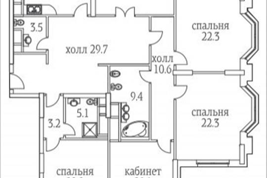 5-комнатная квартира, 215.5 м<sup>2</sup>, 30 этаж