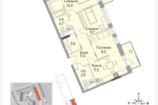 3-комнатная квартира, 71 м<sup>2</sup>, 11 этаж