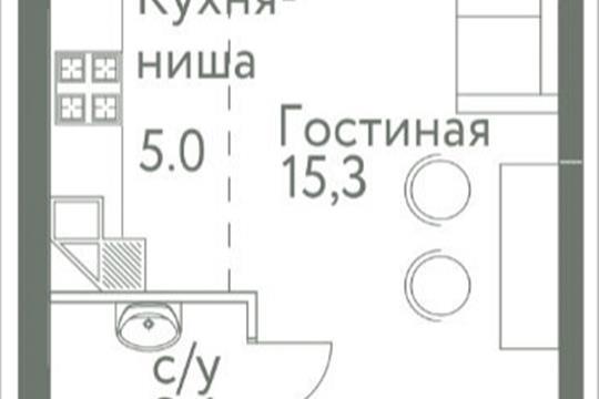1-комнатная квартира, 24.8 м<sup>2</sup>, 8 этаж