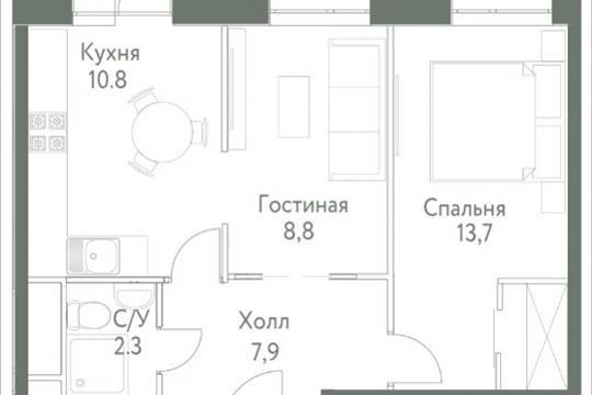 1-комнатная квартира, 44.8 м<sup>2</sup>, 21 этаж