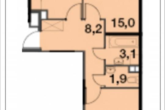 2-комнатная квартира, 55.3 м<sup>2</sup>, 2 этаж