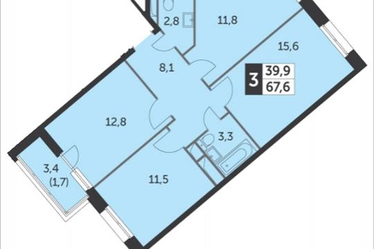 3-комнатная квартира, 68.9 м<sup>2</sup>, 6 этаж
