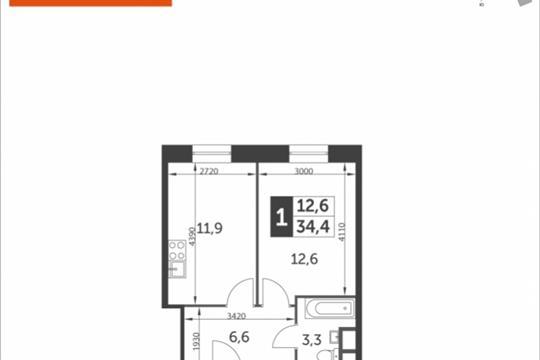 1-комнатная квартира, 34.4 м<sup>2</sup>, 9 этаж