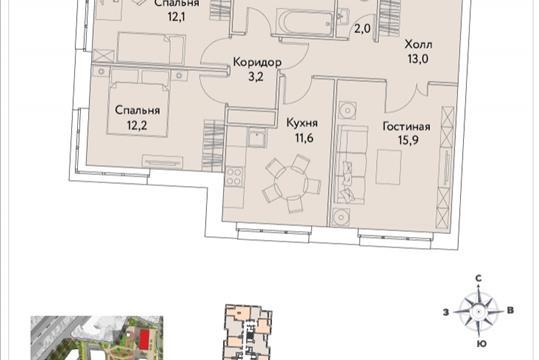 3-комнатная квартира, 75.6 м<sup>2</sup>, 25 этаж