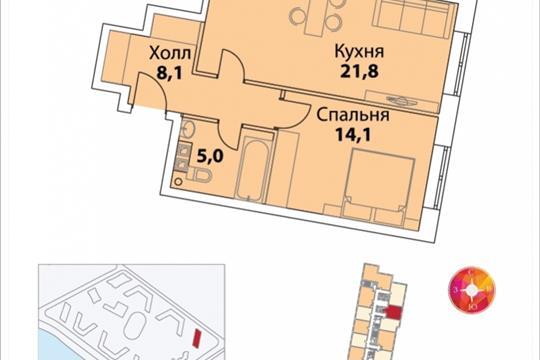 1-комнатная квартира, 49.2 м<sup>2</sup>, 36 этаж