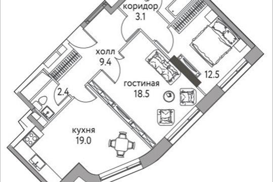 2-комнатная квартира, 72.2 м<sup>2</sup>, 25 этаж