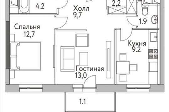 2-комнатная квартира, 54.3 м<sup>2</sup>, 4 этаж