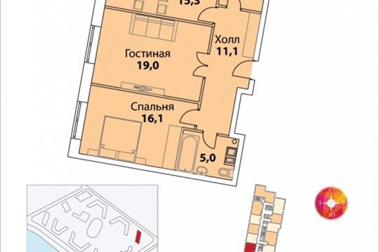 2-комнатная квартира, 70.7 м<sup>2</sup>, 36 этаж