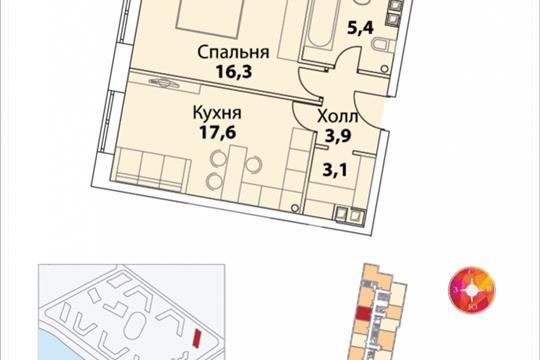 1-комнатная квартира, 46.6 м<sup>2</sup>, 36 этаж
