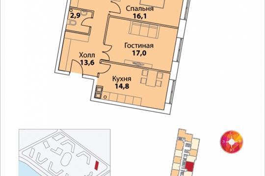 2-комнатная квартира, 71.2 м<sup>2</sup>, 32 этаж