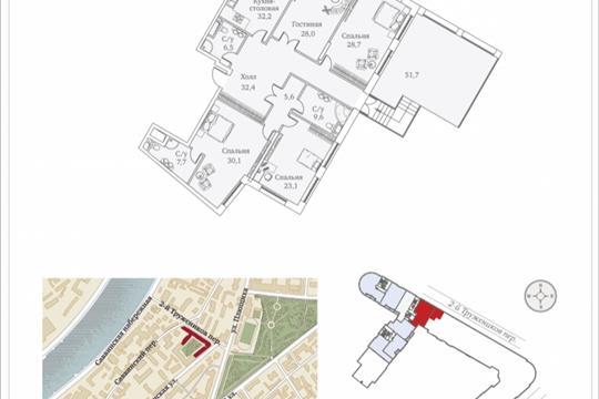 4-комнатная квартира, 223.5 м<sup>2</sup>, 11 этаж