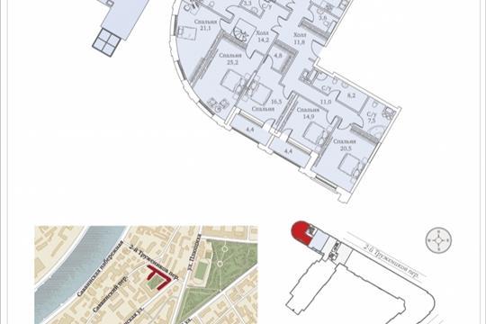 Многокомнатная квартира, 265.3 м<sup>2</sup>, 13 этаж