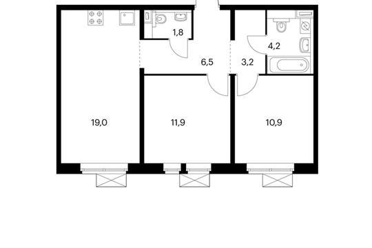2-комнатная квартира, 57.5 м<sup>2</sup>, 12 этаж