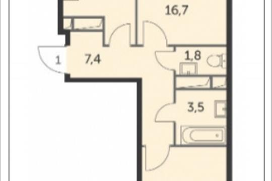 2-комнатная квартира, 51.5 м<sup>2</sup>, 16 этаж