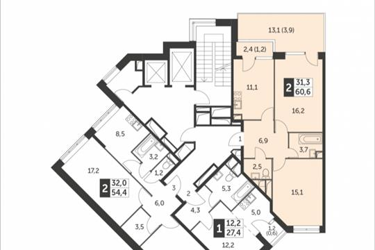 2-комнатная квартира, 60.6 м<sup>2</sup>, 2 этаж