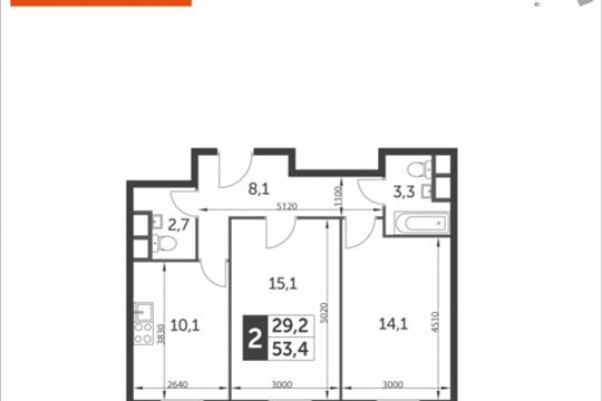 2-комнатная квартира, 53.4 м<sup>2</sup>, 9 этаж