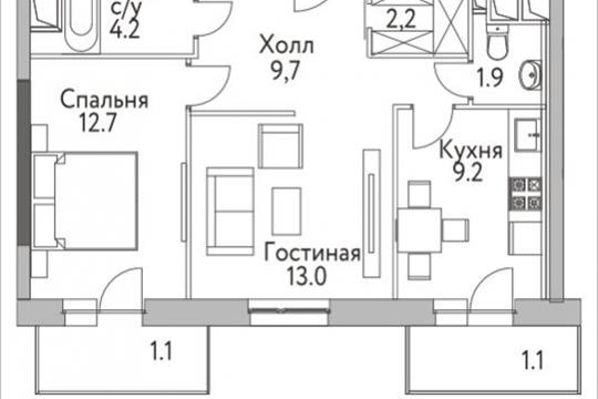 2-комнатная квартира, 55.4 м<sup>2</sup>, 3 этаж