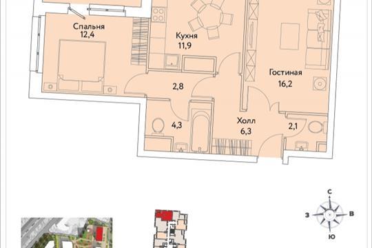 2-комнатная квартира, 58.3 м<sup>2</sup>, 23 этаж