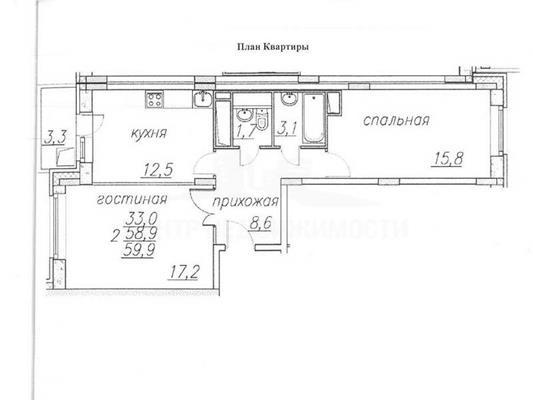 2-комн квартира, 60 м2, 7 этаж - фото 1