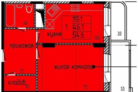 1-комнатная квартира, 55 м<sup>2</sup>, 12 этаж