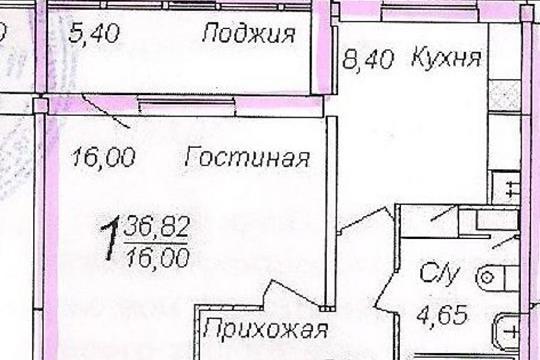 1-комнатная квартира, 37 м<sup>2</sup>, 6 этаж