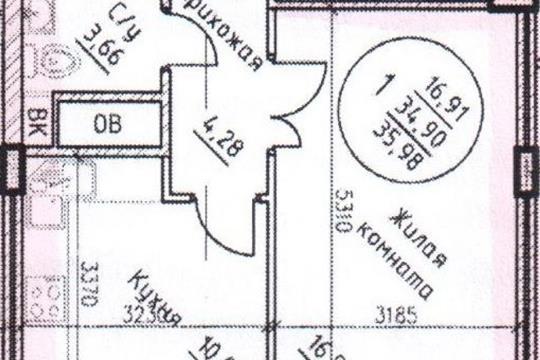 1-комнатная квартира, 36 м<sup>2</sup>, 6 этаж