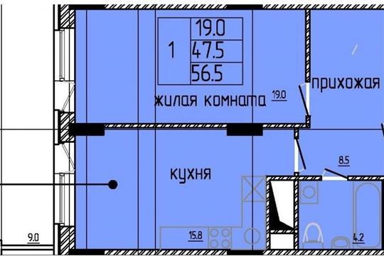 1-комнатная квартира, 56 м<sup>2</sup>, 8 этаж