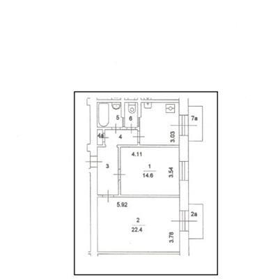 2-комн квартира, 60 м2, 5 этаж - фото 1