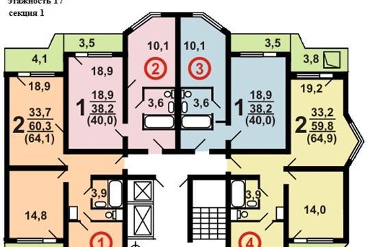 1-комн квартира, 39.5 м2, 15 этаж