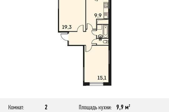 2-комнатная квартира, 56.2 м<sup>2</sup>, 16 этаж
