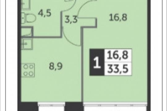 1-комнатная квартира, 33.5 м<sup>2</sup>, 2 этаж