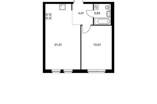 1-комнатная квартира, 43.07 м<sup>2</sup>, 9 этаж