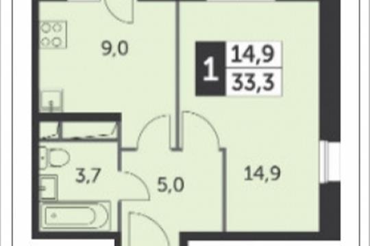 1-комнатная квартира, 33.3 м<sup>2</sup>, 12 этаж