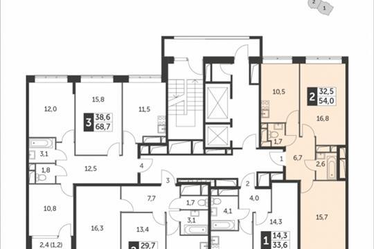 2-комнатная квартира, 54 м<sup>2</sup>, 6 этаж