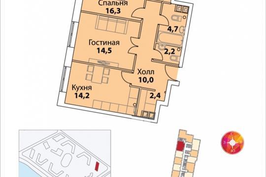 2-комнатная квартира, 65.1 м<sup>2</sup>, 30 этаж