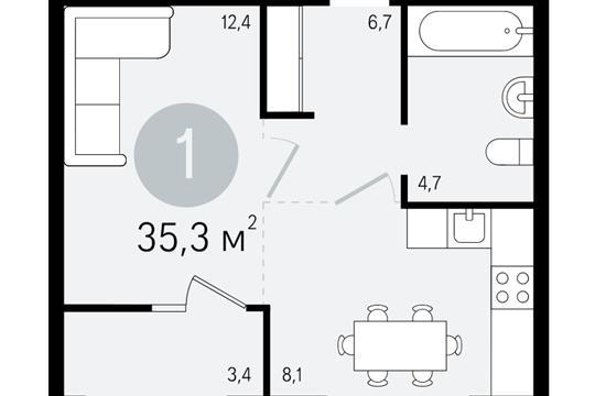 1-комнатная квартира, 35.3 м<sup>2</sup>, 3 этаж