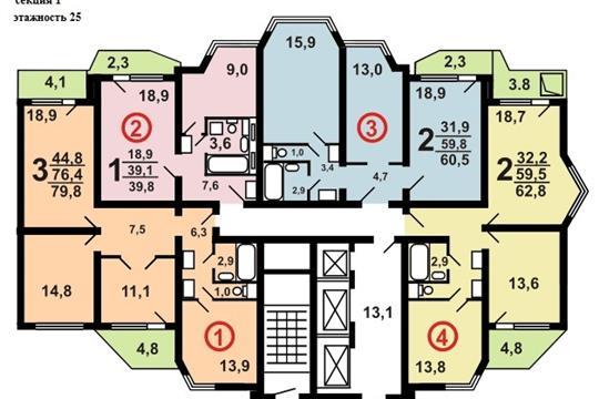 1-комн квартира, 39.5 м2, 6 этаж