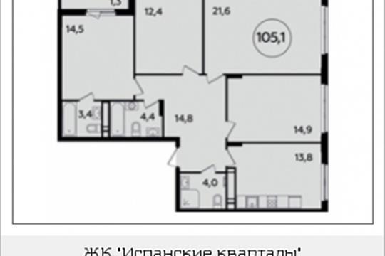 4-комнатная квартира, 105.1 м<sup>2</sup>, 15 этаж