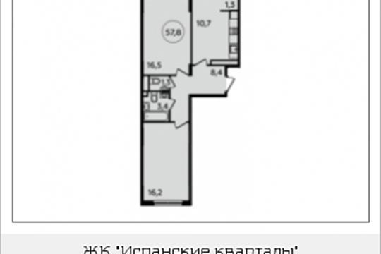 2-комнатная квартира, 57.8 м<sup>2</sup>, 14 этаж