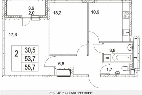 2-комнатная квартира, 55.7 м<sup>2</sup>, 2 этаж