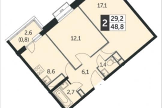 2-комнатная квартира, 48.8 м<sup>2</sup>, 20 этаж
