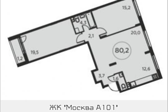 3-комнатная квартира, 80.2 м<sup>2</sup>, 4 этаж
