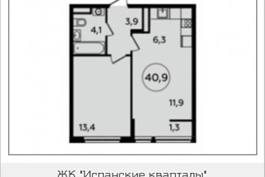 2-комнатная квартира, 40.9 м<sup>2</sup>, 8 этаж